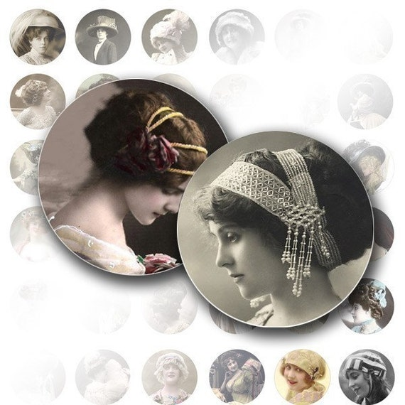 1 inch circle digital art collage sheet bottle cap jewelry making paper supplies Victorian Edwardian vintage lady (022) BUY 3 GET 1 FREE