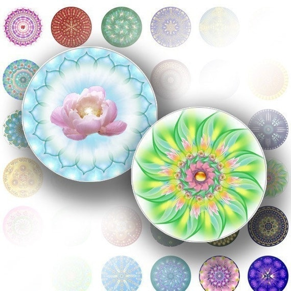 1 inch circle digital art collage sheet bottle caps download graphics Colorful mandala jewelry making paper supplies (056) BUY 3 GET 1 FREE