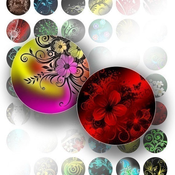 1 inch circle digital art bottle cap images collage sheet for jewelry making paper supplies Colorful floral swirls (045) BUY 3 GET 1 FREE