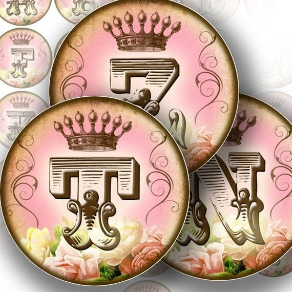Vintage alphabet letter monogram 1.5 inch circles digital collage jewelry making paper supplies altered art download (145) BUY 3 GET 1 FREE