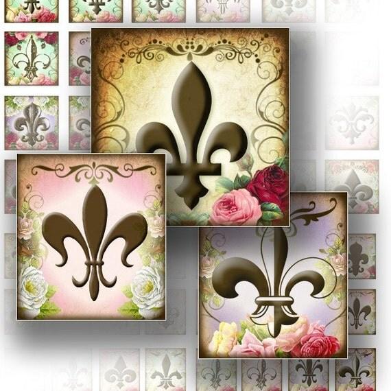 1x1 digital collage sheets for scrabble tiles download art jewelry making paper supplies Vintage Royal Fleur de Lis (114) BUY 3 GET 1 FREE