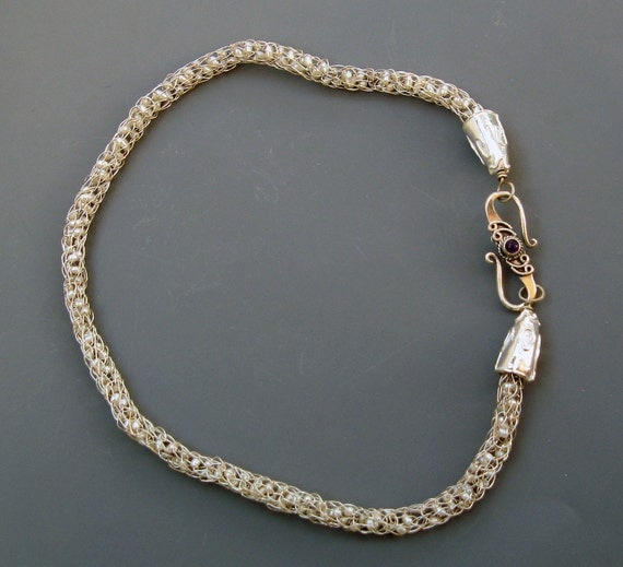 Fine Silver Handwoven Necklace with Tiny Cultured Pearls