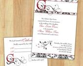 DIY Black and Red Damask Custom Wedding Invitations