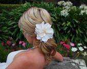 Bridal Flower, Dahlia, Wedding Flower, Ivory, Silk, Fascinator, Pearls, Rhinestones