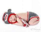 Crochet Boy or Girl Sock Monkey Hat and Diaper Cover Set Photo Prop