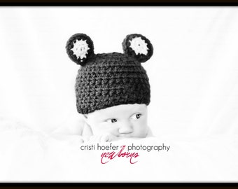 Crochet Teddy Bear Hat Cap Beanie Baby Photo Prop