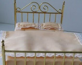 RESERVED FOR GINA in Indiana - Brass Doll Bed with Mattress, pillows and coverlet