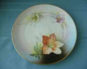 REDUCED - Royal Rudolphstadt Handpainted Gilt Edge Porcelain Plate with Lilies