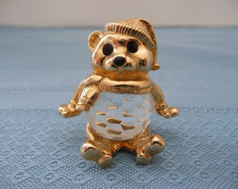 CLEARANCE - Swarovski Brass and Crystal Christmas Teddy Bear Pendant