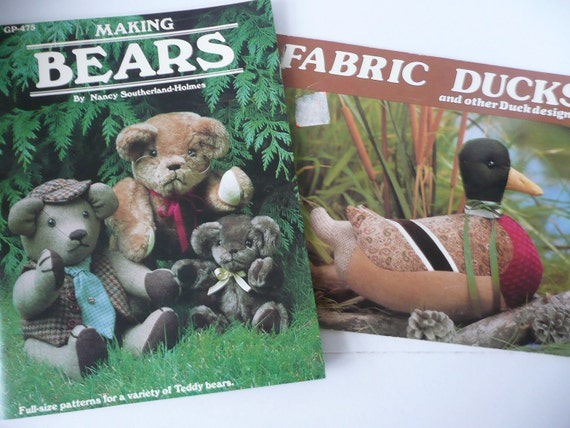 Two How-to Craft Books for Making Teddy Bears and Ducks