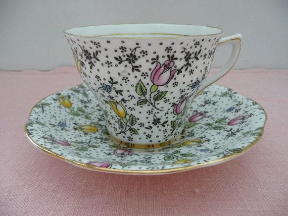 "Rosina Pattern ""June"" English Bone China Teacup and Saucer"