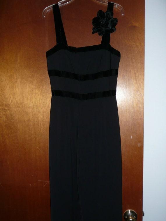 REDUCED - Ladies Black Crepe Jumpsuit Palazzo Pants with Velvet Straps and Detachable Velvet Flower Brooch