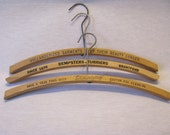 Vintage Wooden Hangers Lot Lettering Advertising Cleaners Metal Hoop Collectible