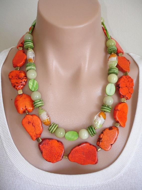 Ashira TROPICAL Tangerine Orange Howlite Freeform Nuggets, Lampwork Orange Lime Green and White, New Jade, Magnesite - WOW