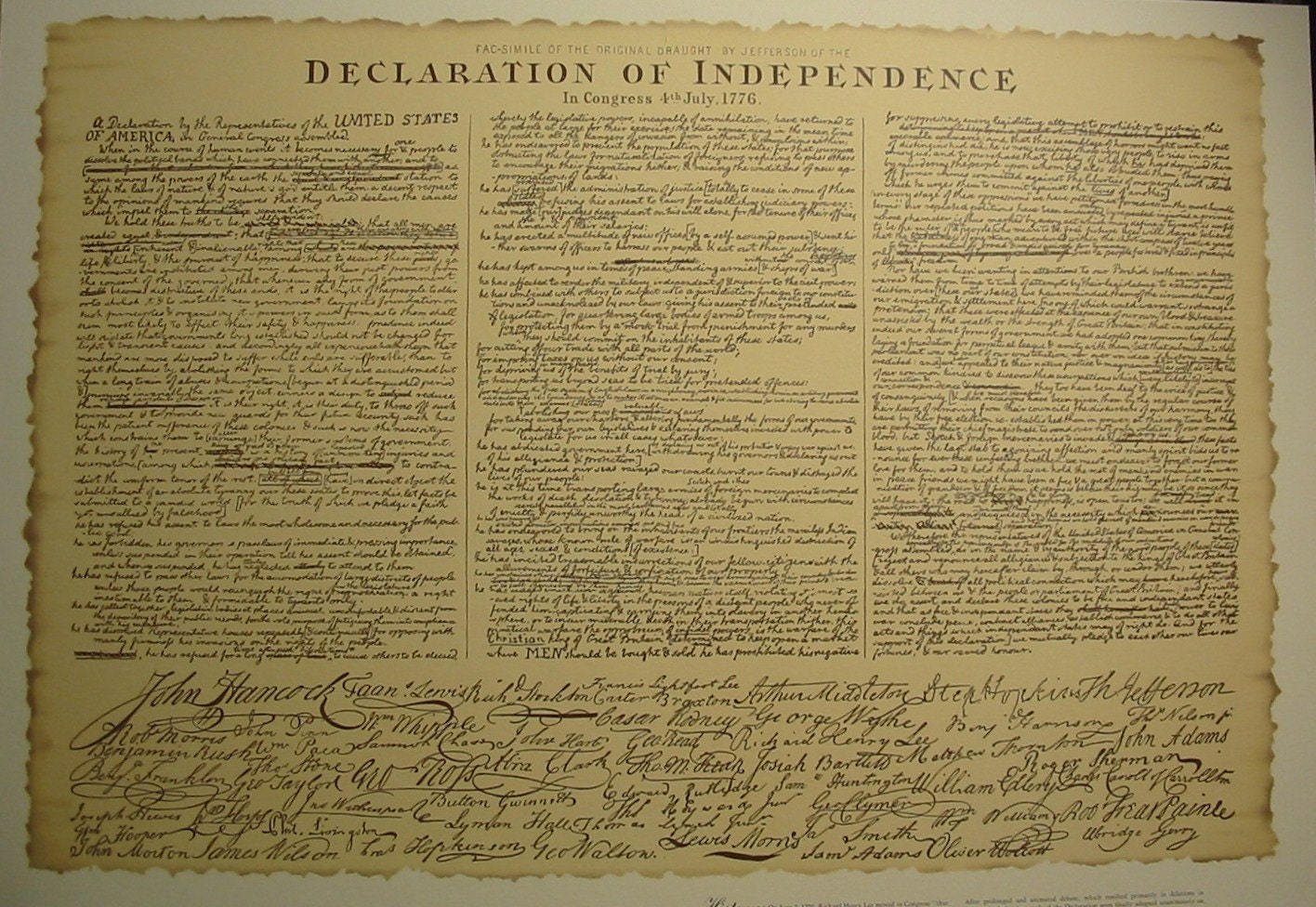 It's just a photo of Vibrant Printable Copy of the Declaration of Independence