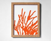 CORAL SILHOUETTE in coral red on white background (8x10)