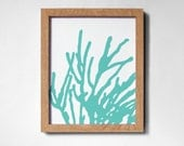 CORAL in aqua on white background (8x10)