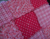 Table Runner Rag Quilt Style Homespun Pink Plaid and Hearts - Handmade in NJ -