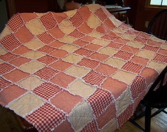 Homespun Rag Quilt Large Throw Size, Red Quilt, Country Primitive Quilt, Farmhouse Decor, Handmade in NJ