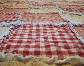Twin Size Rag Quilt, Red Homespun and Cotton, Primitive Quilt, Farmhouse Decor, Bunk Quilt, Handmade in NJ