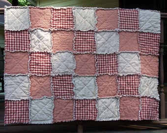 Rag Quilt Lap Size, Red Homespun Country Primitive Quilt, Farmhouse Chic, Handmade in NJ