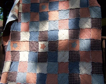 Queen Size Quilt, Frontier Primitive Rag Quilt,  Homespun Americana Bedding, Farmhouse Quilt, Handmade in NJ