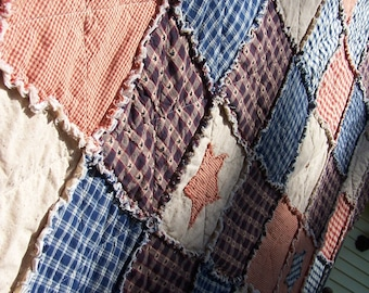 Queen Size Quilt, Frontier Primitive Rag Quilt, Americana in Homespun with Stars and Buttons, Farmhouse Quilt, Handmade in NJ