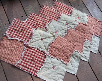 Red Homespun Placemat, Primitive Placemat, Country Placemat, Table Topper, Buttons, Multiple Quantities Available- Handmade in NJ -
