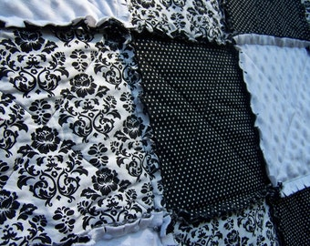 "Damask Rag Quilt, Large Throw Size Black and White, Minky 60"" x 70"",  Handmade in NJ"