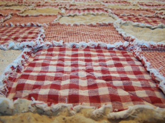 Rag Quilt Patterns For Twin Bed : Twin Size Rag Quilt Red Homespun and Cotton Primitive Quilt
