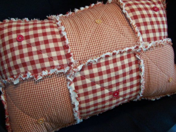 Homespun Red Country Primitive Rag Pillow with Buttons, Handmade in NJ