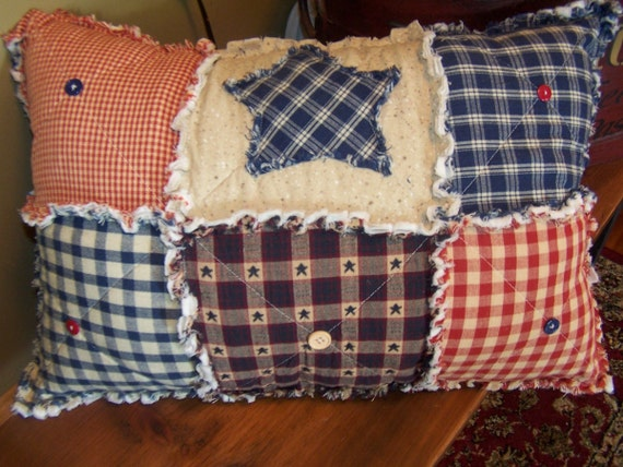 Rag Pillow, Frontier Primitive Pillow, Homespun Pillow with Buttons and Star, Americana Decor, Handmade in NJ