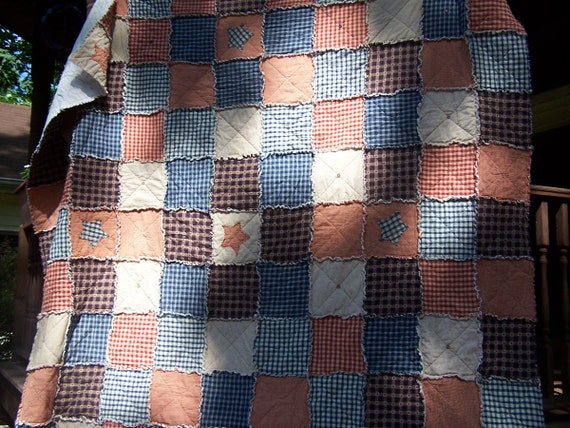 Queen Size Quilt, Frontier Primitive Rag Quilt,  Homespun Americana Bedding, Handmade in NJ