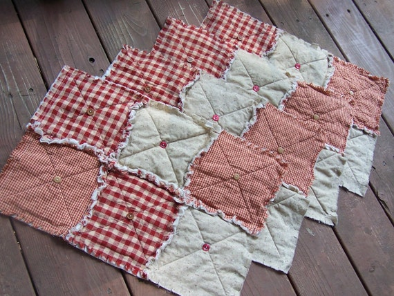Red Placemats, Homespun Country Primitive, Buttons- Handmade in NJ -