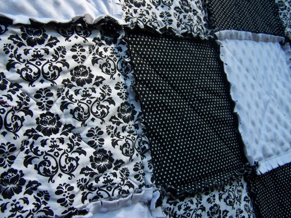 Damask Rag Quilt, Lap Size Black and White Blanket, Minky, Handmade in NJ