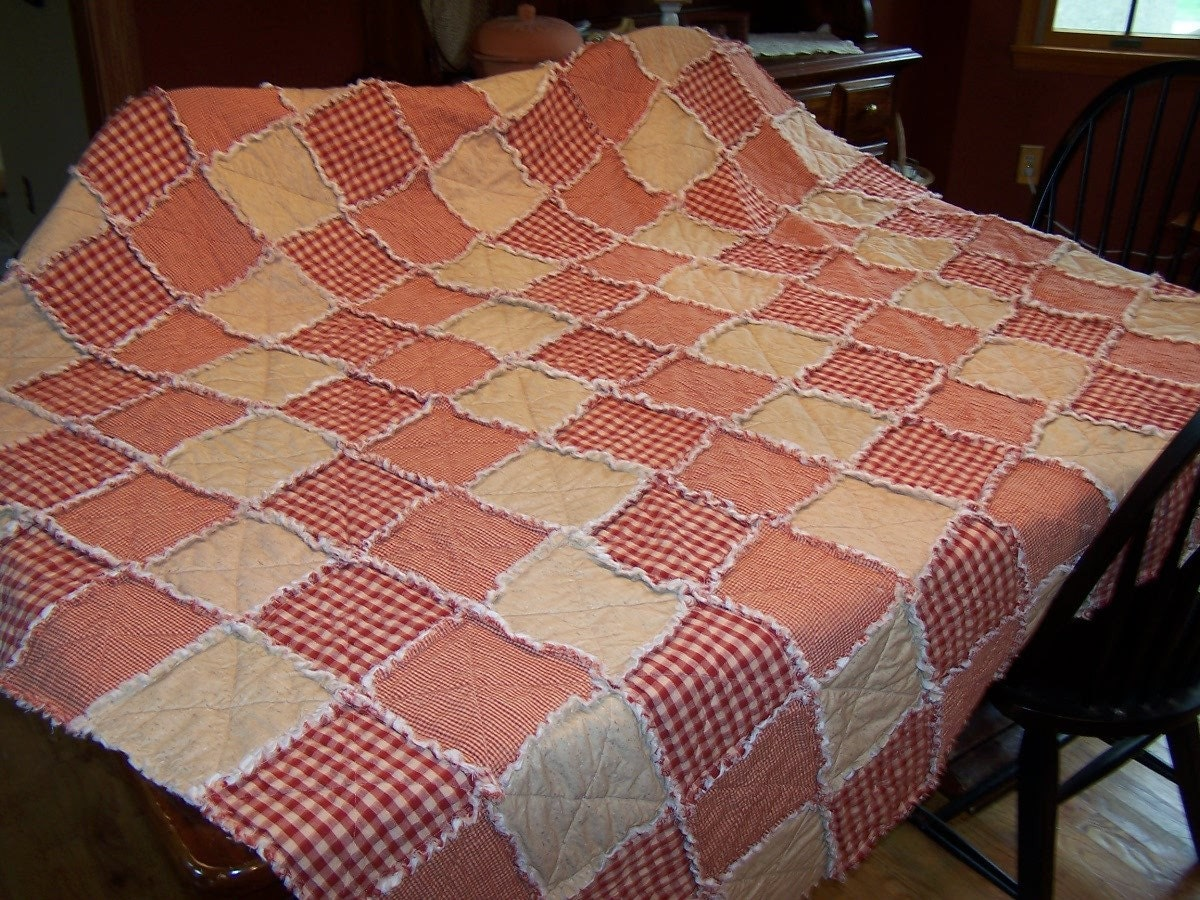 Queen Size Rag Quilt Red Homespun Farmhouse Bedding Barn
