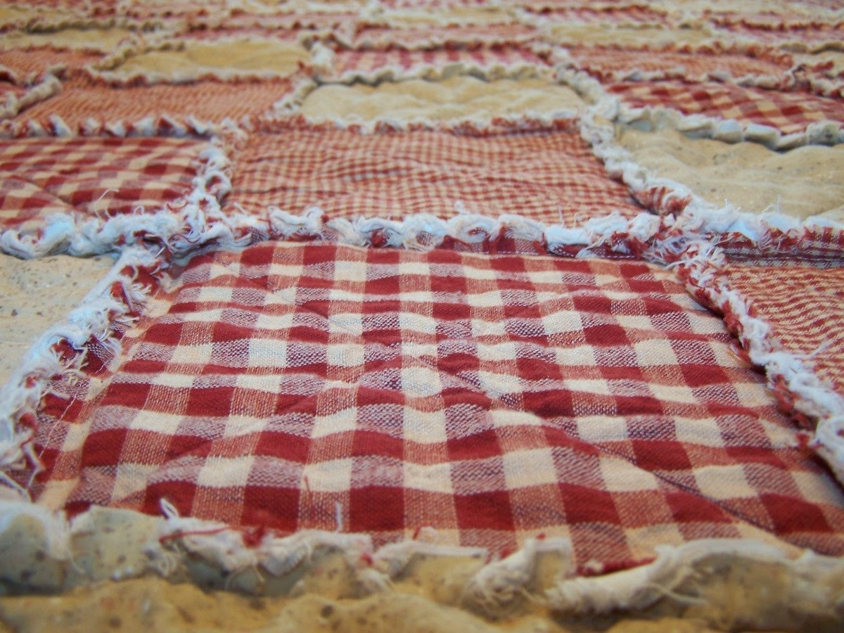 Twin Size Rag Quilt Red Homespun and Cotton Primitive Quilt