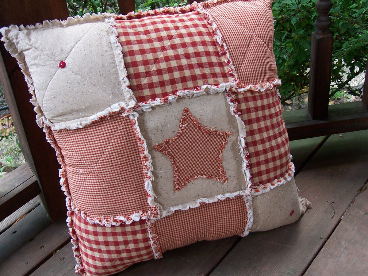 handmade pillows homespun rag pillow fully stuffed primitive country 306
