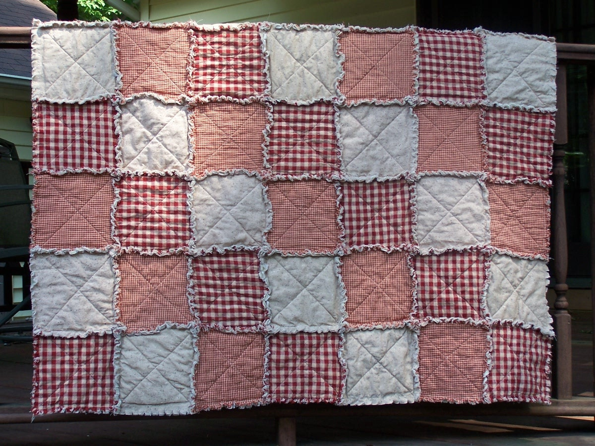 Rag Quilt Lap Size Red Homespun Country Primitive Quilt