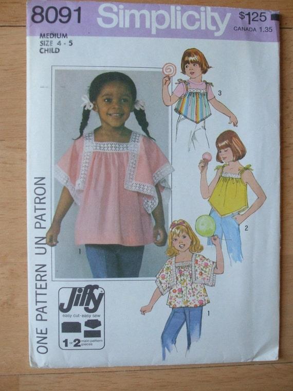 Girl'sTop Hankie Hem Sewing Pattern Size 4 to 5 Simplicity 8091 Vintage 70s