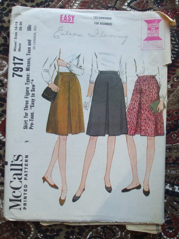 60s Skirt Pattern Inverted Pleat Sewing Pattern McCalls 7917 Waist 28 to 30 UNCUT