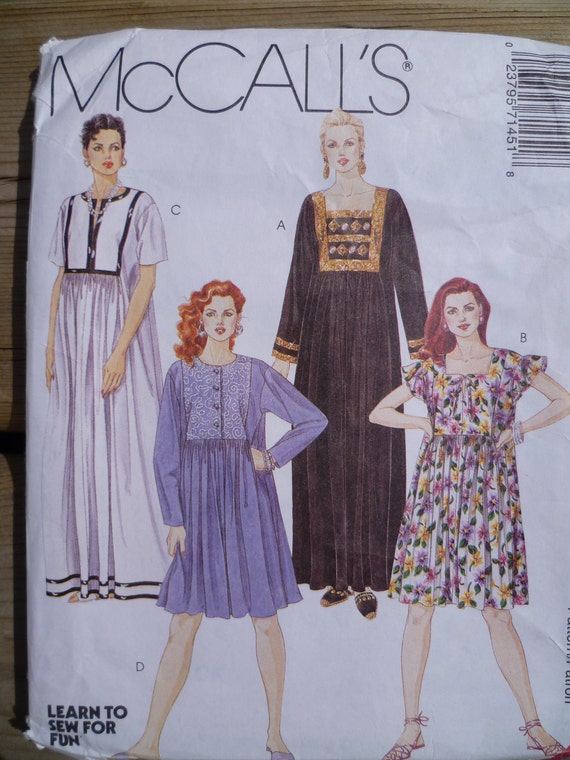 Muumuu Peasant Dress Pattern McCalls 7145 Sz 8 10 UNCUT