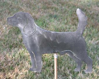 Beagle Dog yard garden art statue stake flower bed steel
