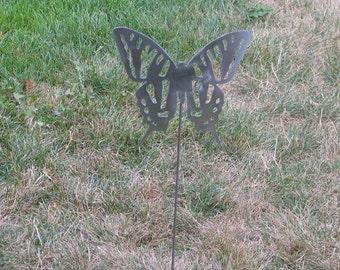 Beautiful Butterfly Garden yard art metal stake flower insect bug 8