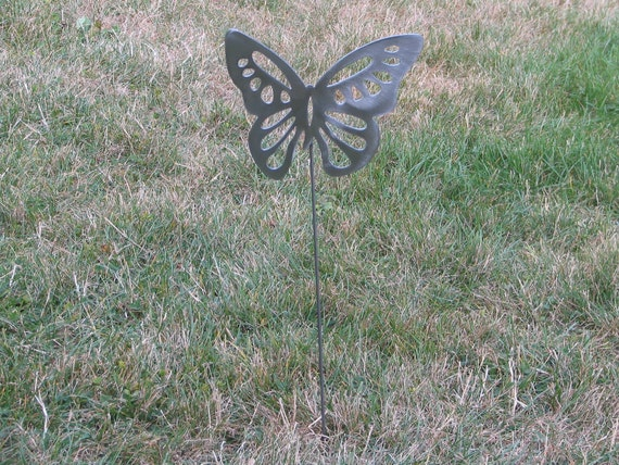 Beautiful Butterfly Garden yard art metal stake flower insect bug 11