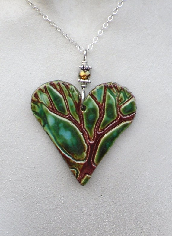 Heart Tree Ceramic Pendant Necklace in Green, Aqua & Cinnamon Fuzed Glazes with Sterling Silver Chain  Ceramic Jewelry