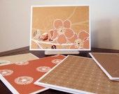 warm floral notecards - set of five