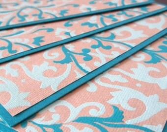 notecard set - blank notecards - set of 4 - peacock, teal and aquamarine - blue notecards
