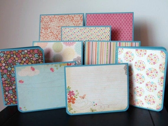 assorted bright spring notecards - set of nine