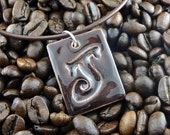 "Kiln-Fired Stoneware Clay Rectangular Letter Pendant & Cord Necklace - ""J"" Chocolate Brown"